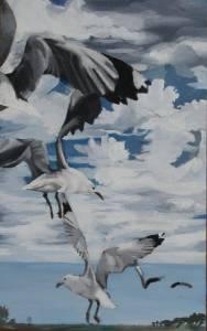 Sea Point Gulls Acrylic On Board 40 X 26cm R1000