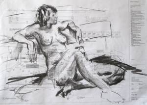 Departure 77 X 100cm Charcoal On Paper