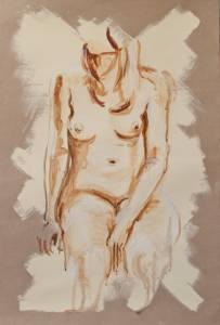Sitting Pretty Acrylic On Paper 76 X 50 Cm
